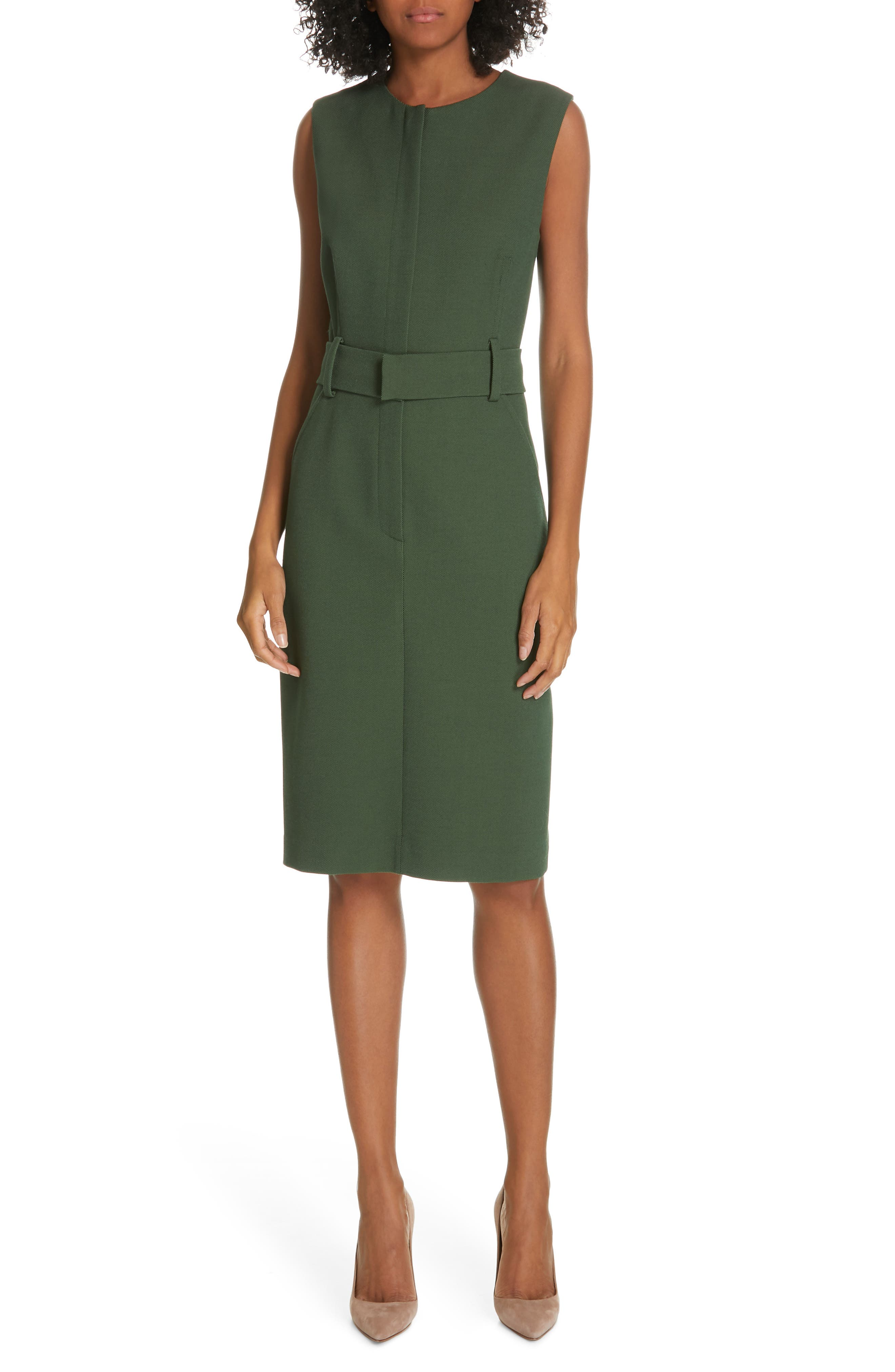 Judith & Charles Edge Belted Dress, Green