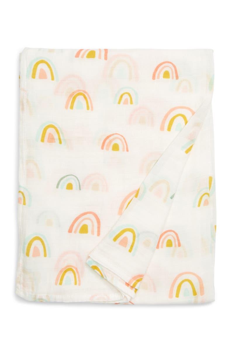 LOULOU LOLLIPOP Pastel Rainbow Muslin Swaddle Blanket, Main, color, MULTI