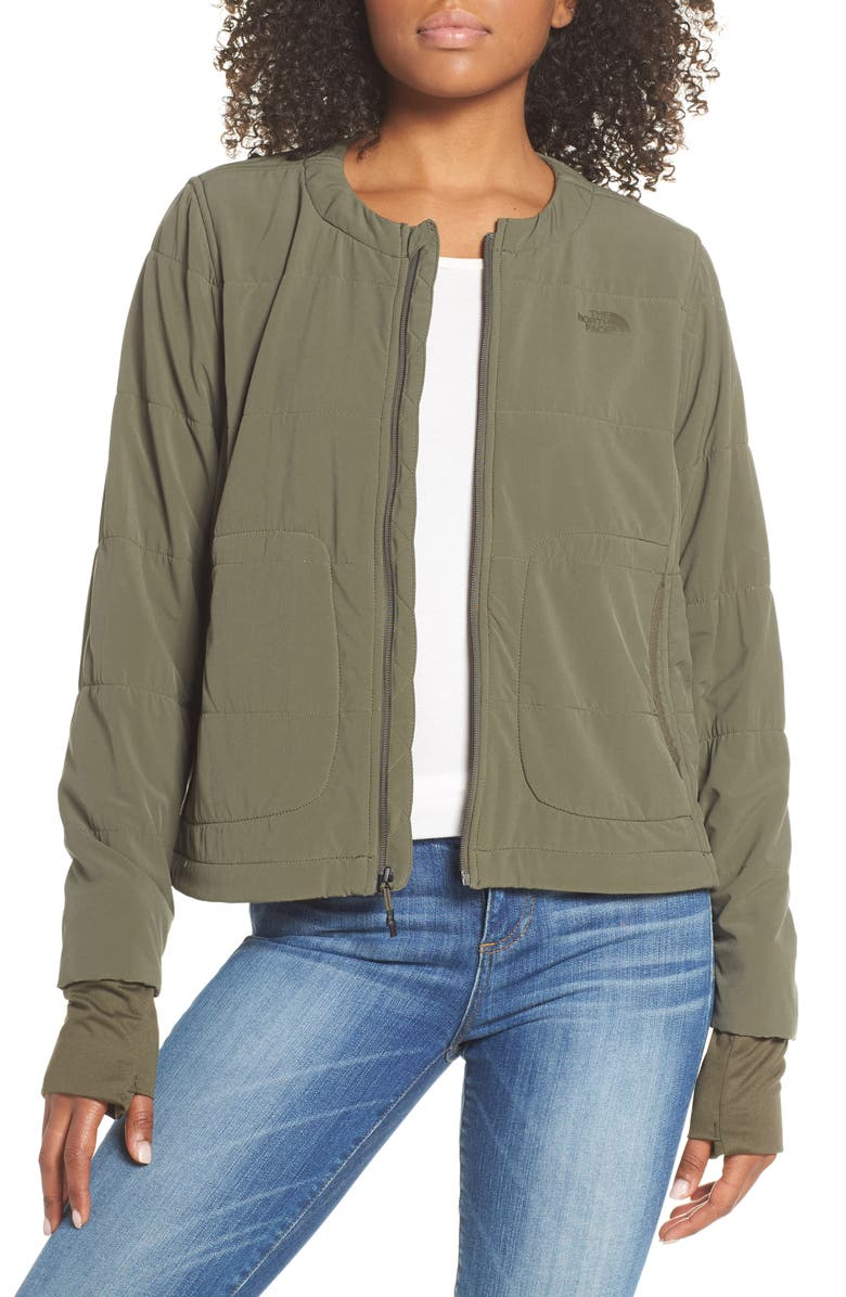 THE NORTH FACE Mountain Insulated Collarless Zip Jacket, Main, color, NEW TAUPE GREEN
