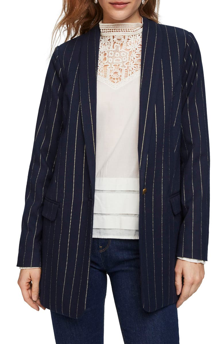 SCOTCH & SODA Long Pinstripe Metallic Blazer, Main, color, COMBO G