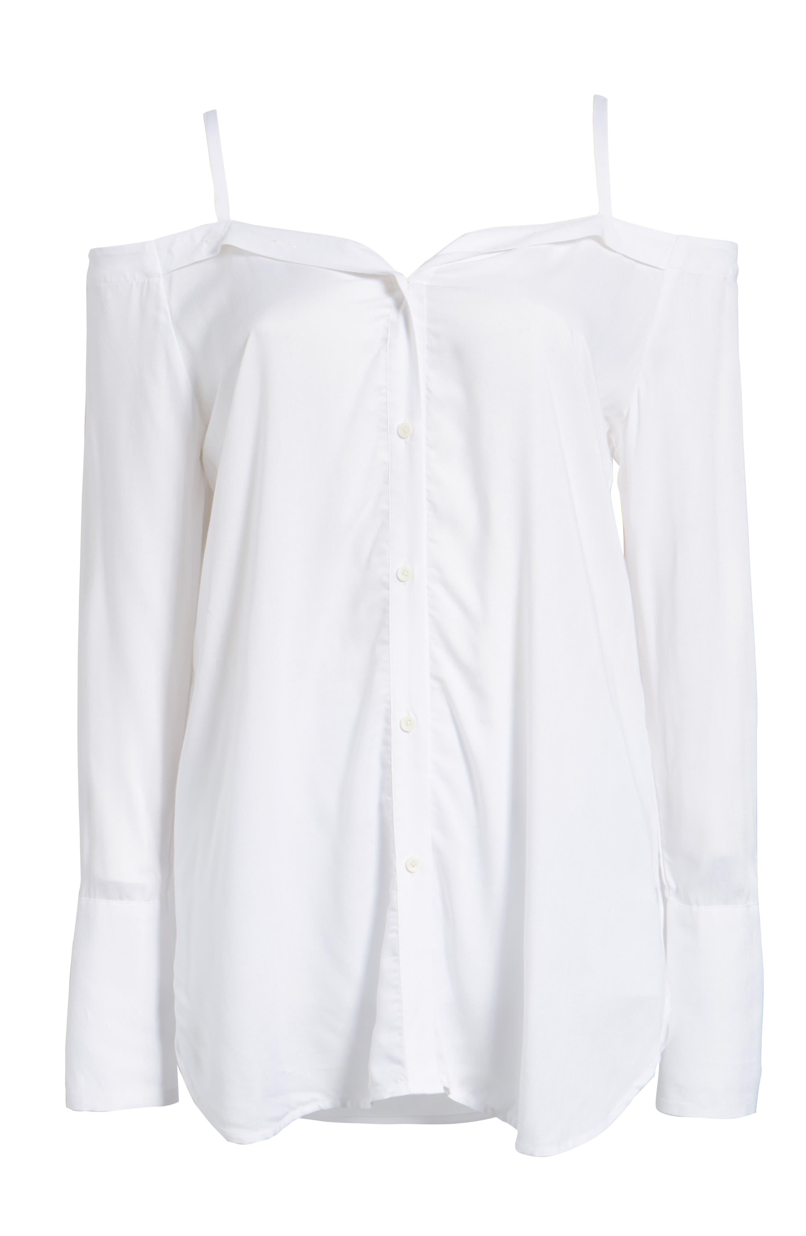 ,                             Deconstructed Off the Shoulder Shirt,                             Alternate thumbnail 6, color,                             100