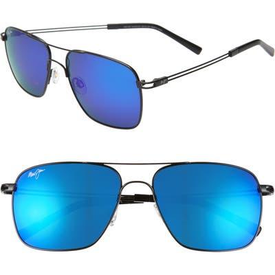 Maui Jim Haleiwa 5m Mirrored Polarized Navigator Sunglasses - Gunmetal Black/ Blue Hawaii