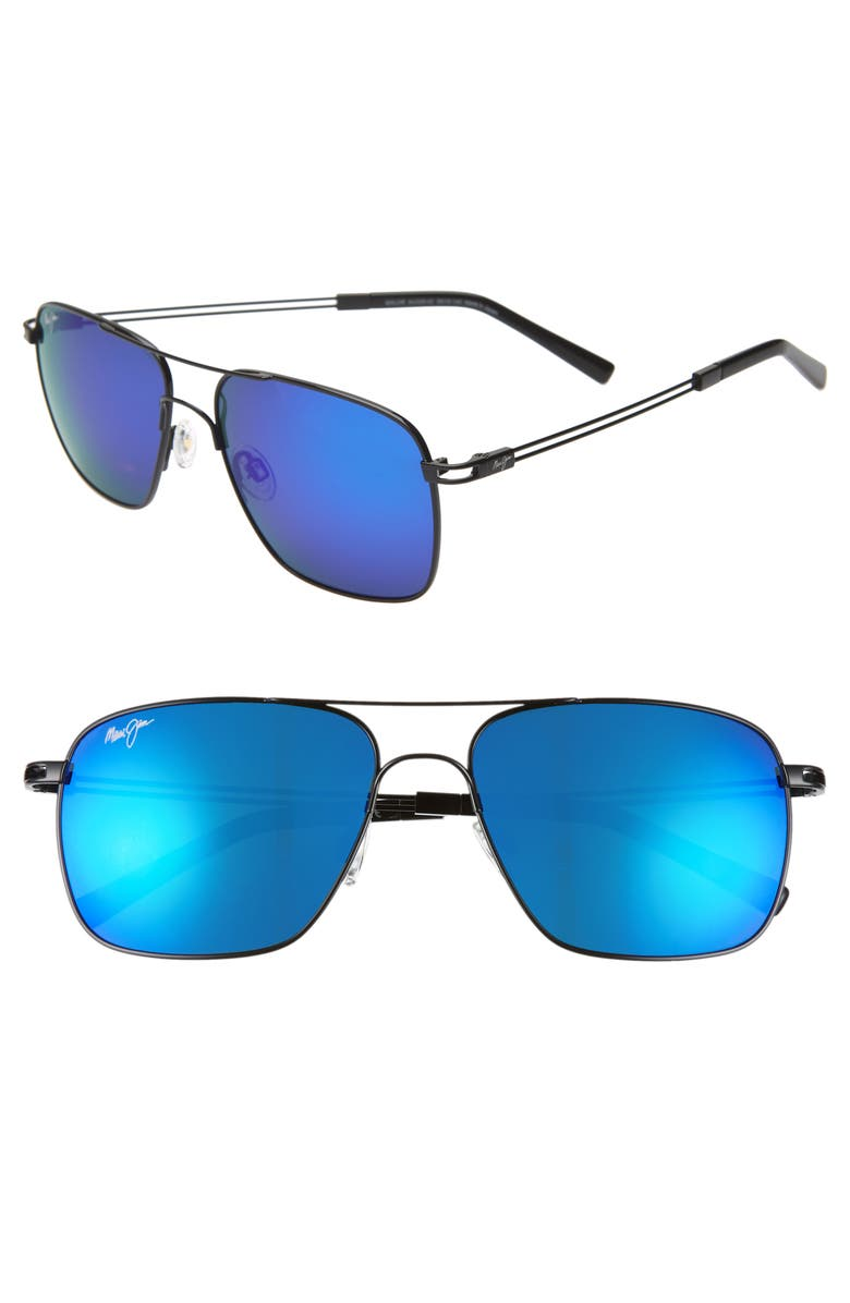 MAUI JIM Haleiwa 56mm PolarizedPlus2<sup>®</sup> Mirrored Navigator Sunglasses, Main, color, GUNMETAL BLACK/ BLUE HAWAII