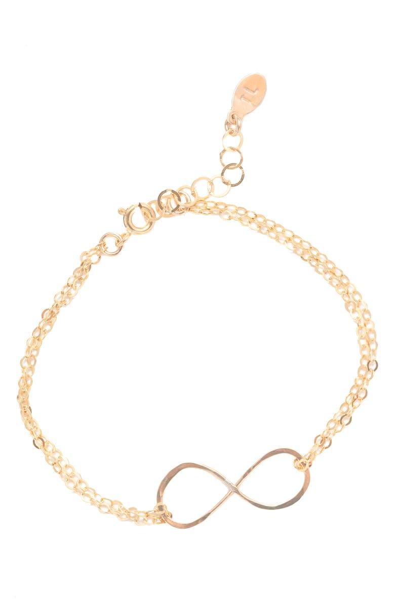 TERESSA LANE JEWELRY Hammered Infinity Bracelet, Main, color, GOLD