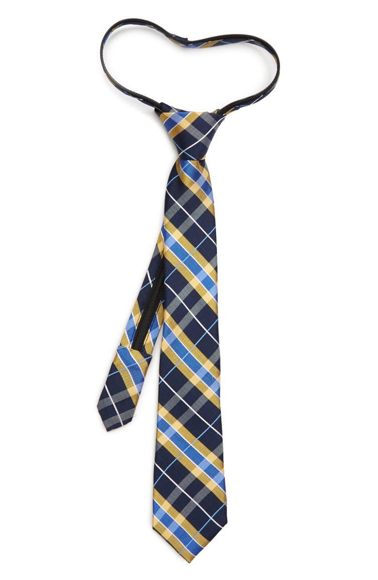NORDSTROM Alan Plaid Silk Zipper Tie, Main, color, YELLOW
