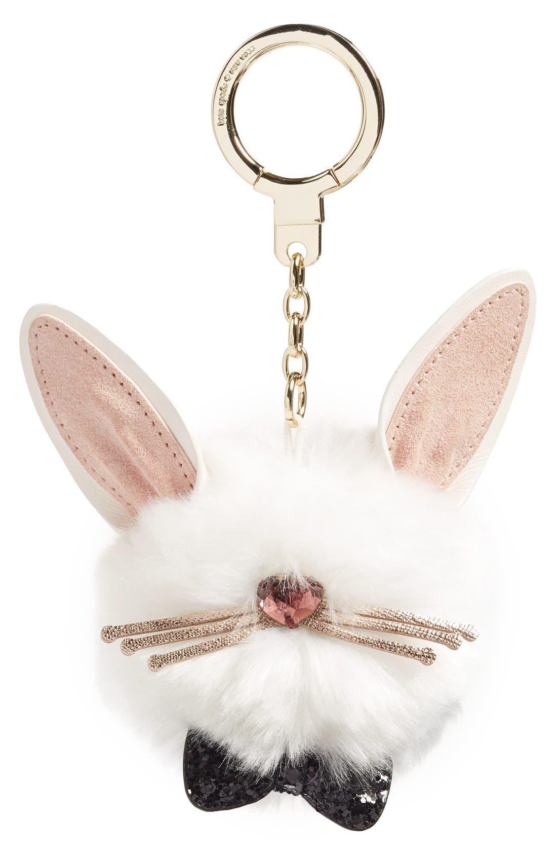 bunny pouf faux fur bag charm, Main, color, 104