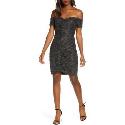 Eliza J Off The Shoulder Sparkle Beaded Ruched Dress, Black