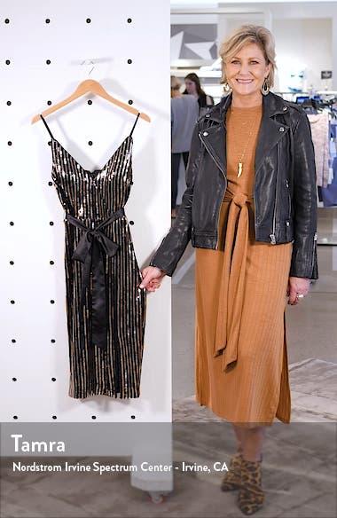 Sequin Stripe Faux Wrap Cocktail Dress, sales video thumbnail