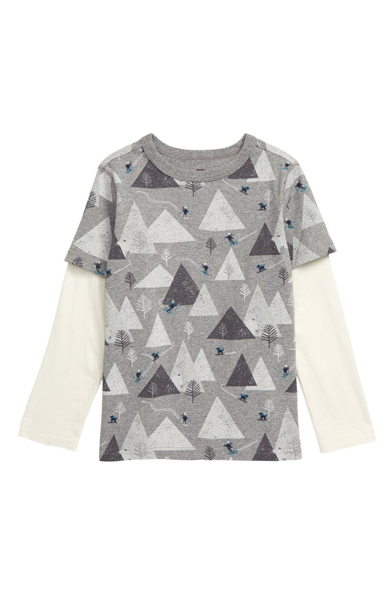 TEA COLLECTION Print Layered Long Sleeve T-Shirt, Main, color, MED HEATHER GREY