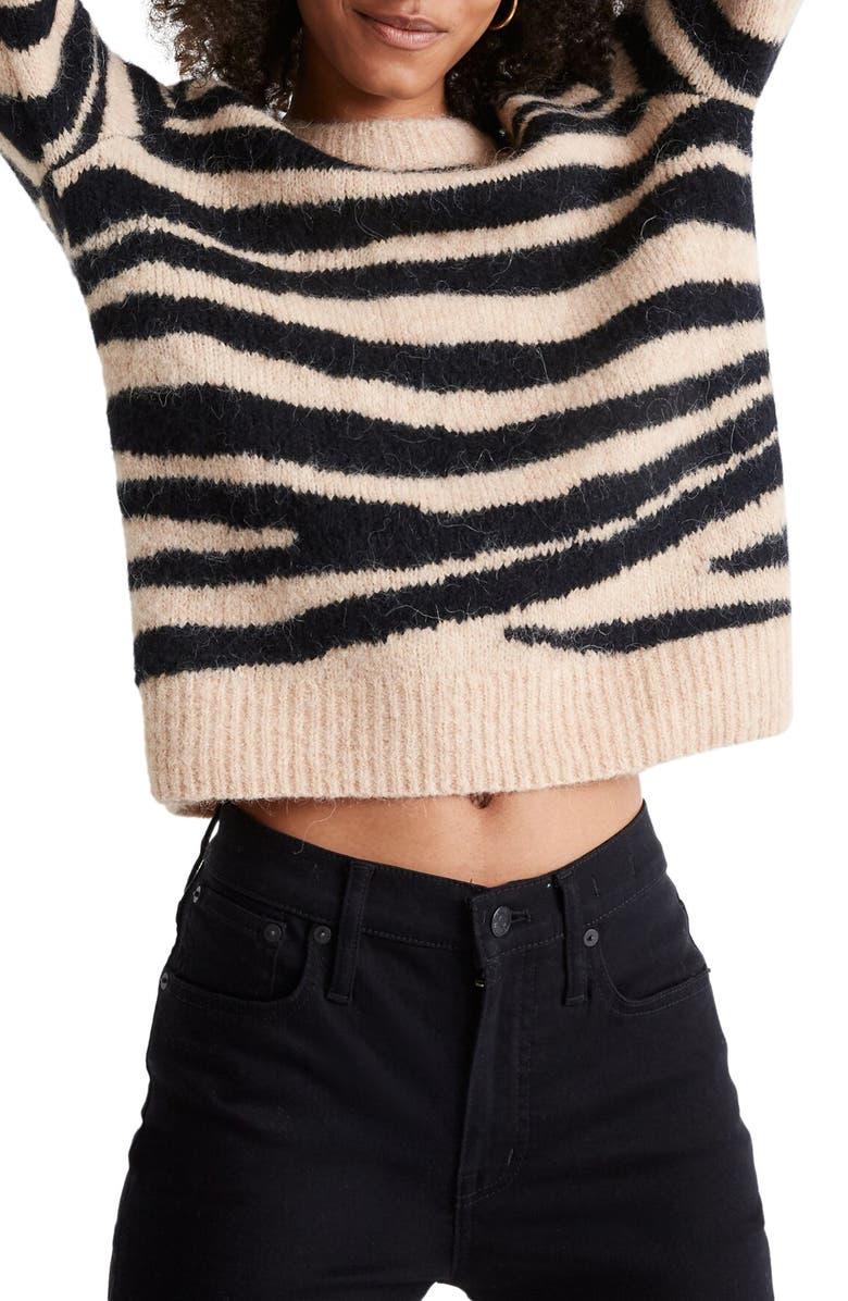 MADEWELL Tiger Stripe Shrunken Pullover Sweater, Main, color, HEATHER CAMEL