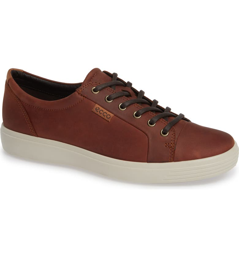 ECCO Soft VII Lace-Up Sneaker, Main, color, COGNAC OILED NUBUCK