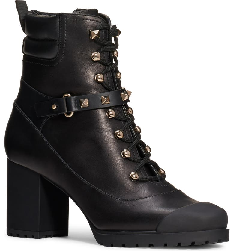 VALENTINO GARAVANI Rockstud Lace-Up Boot, Main, color, 001