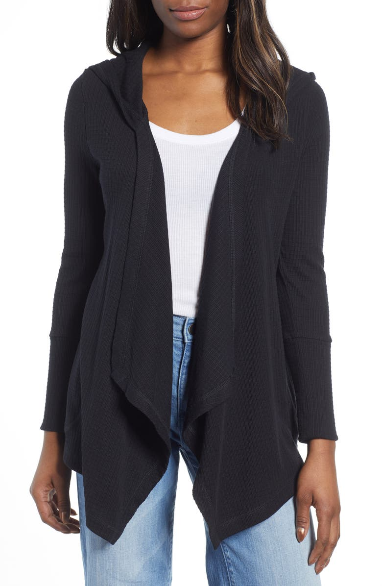 CASLON<SUP>®</SUP> Off Duty Waffle Cardigan, Main, color, 001