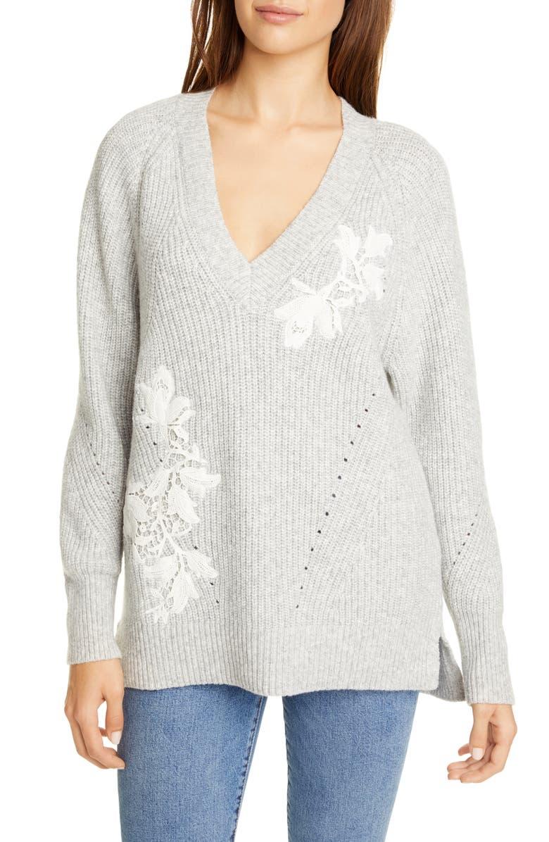 REBECCA TAYLOR Appliqué V-Neck Pullover Sweater, Main, color, HEATHER GREY