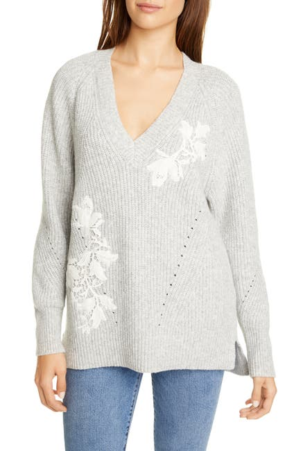 Image of Rebecca Taylor Appliqué V-Neck Pullover Sweater