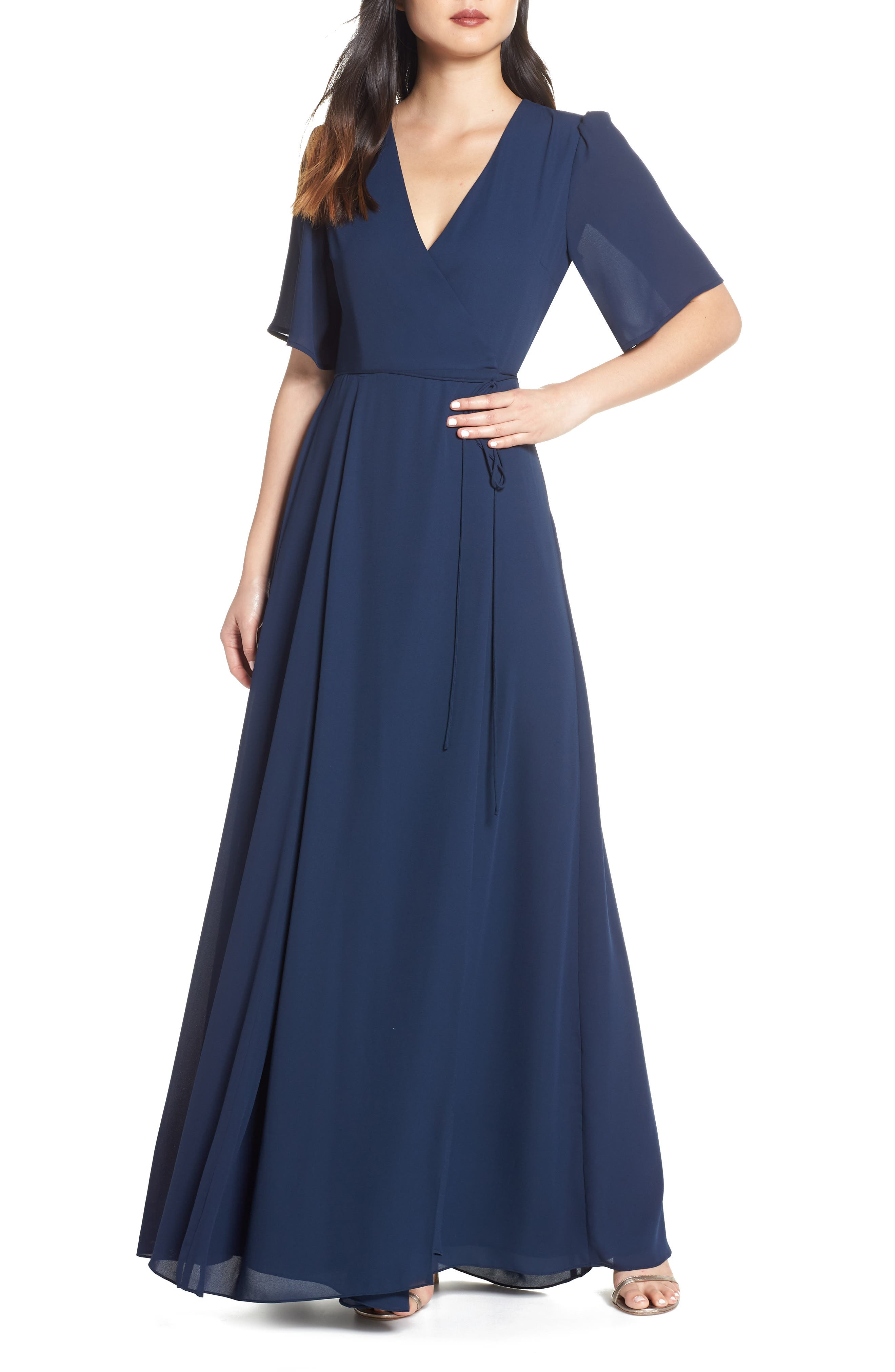 Wayf The Aurelia Short Sleeve Wrap Evening Dress, Blue