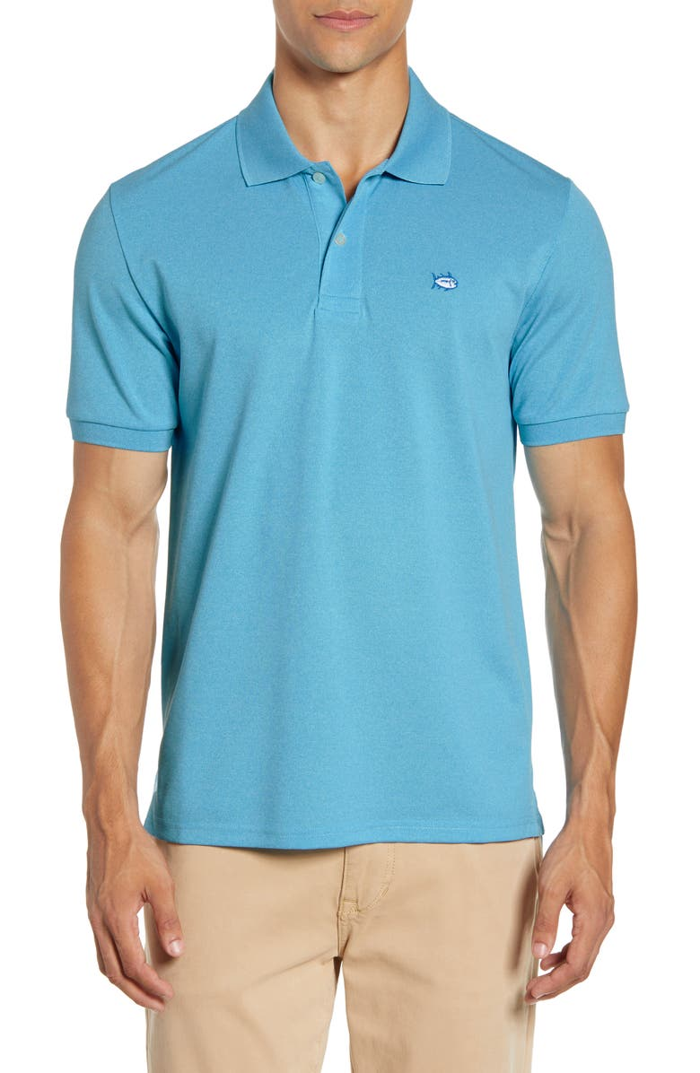 SOUTHERN TIDE Skipjack Performance Piqué Polo, Main, color, HEATHER SHORELINE BLUE