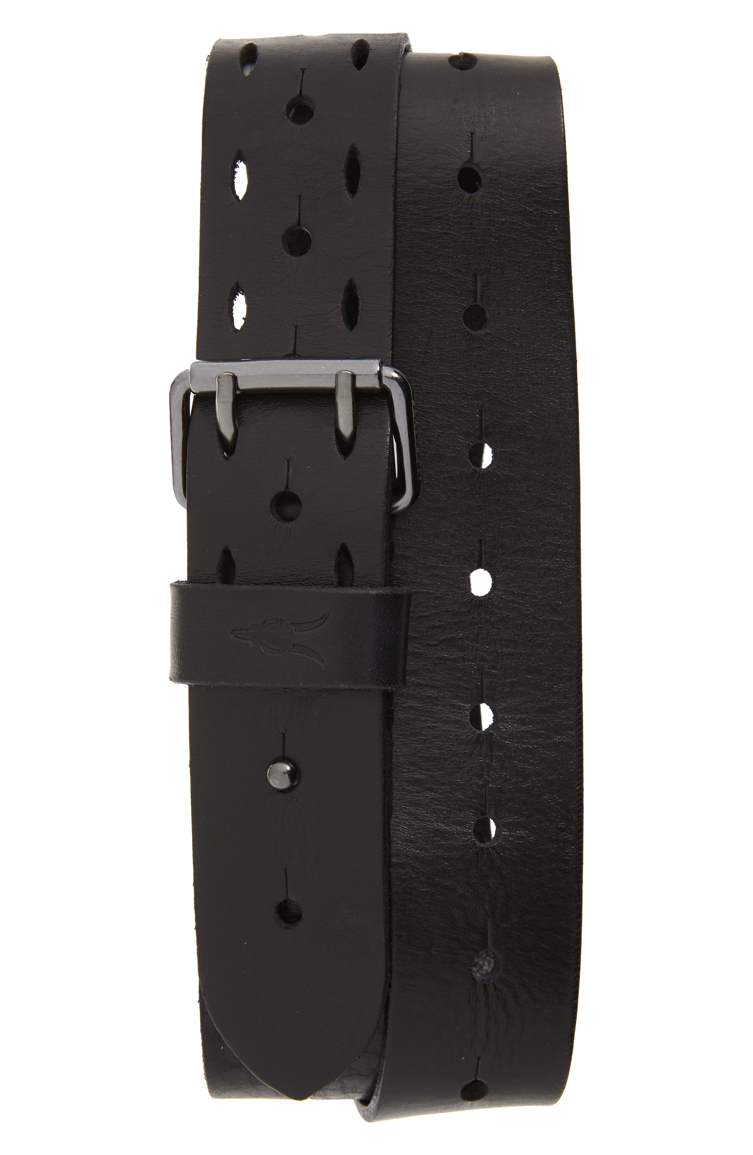Allsaints Perforated Leather Belt, Black