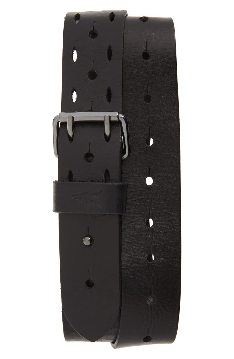 ALLSAINTS Perforated Leather Belt, Main, color, BLACK
