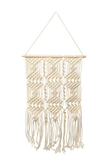 """Image of Concepts in Time 19"""" x 29"""" Twist Braid Fringe Macrame Wall Hanging"""