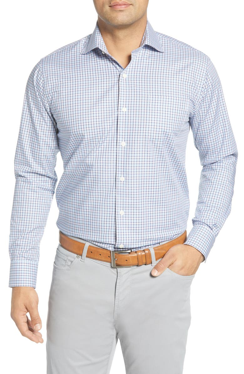 PETER MILLAR Crown Ease Stretch Girdwood Regular Fit Check Button-Up Shirt, Main, color, COTTAGE BLUE
