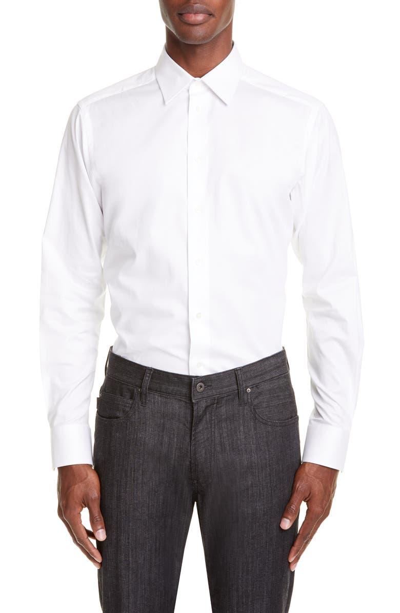EMPORIO ARMANI Trim Fit Solid Dress Shirt, Main, color, SOLID WHITE