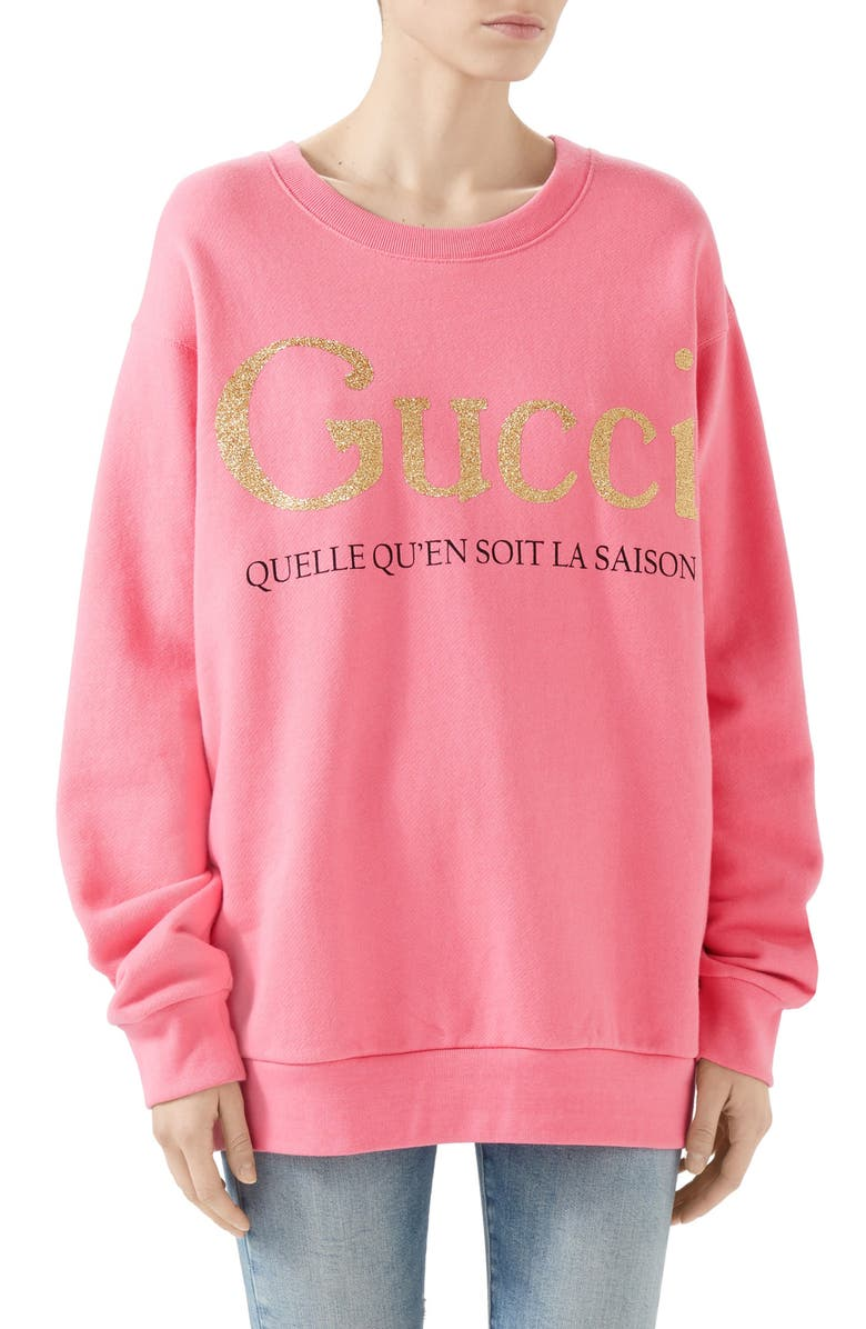 GUCCI La Saison Glitter Logo Cotton Sweatshirt, Main, color, ROSE BUD/ MULT