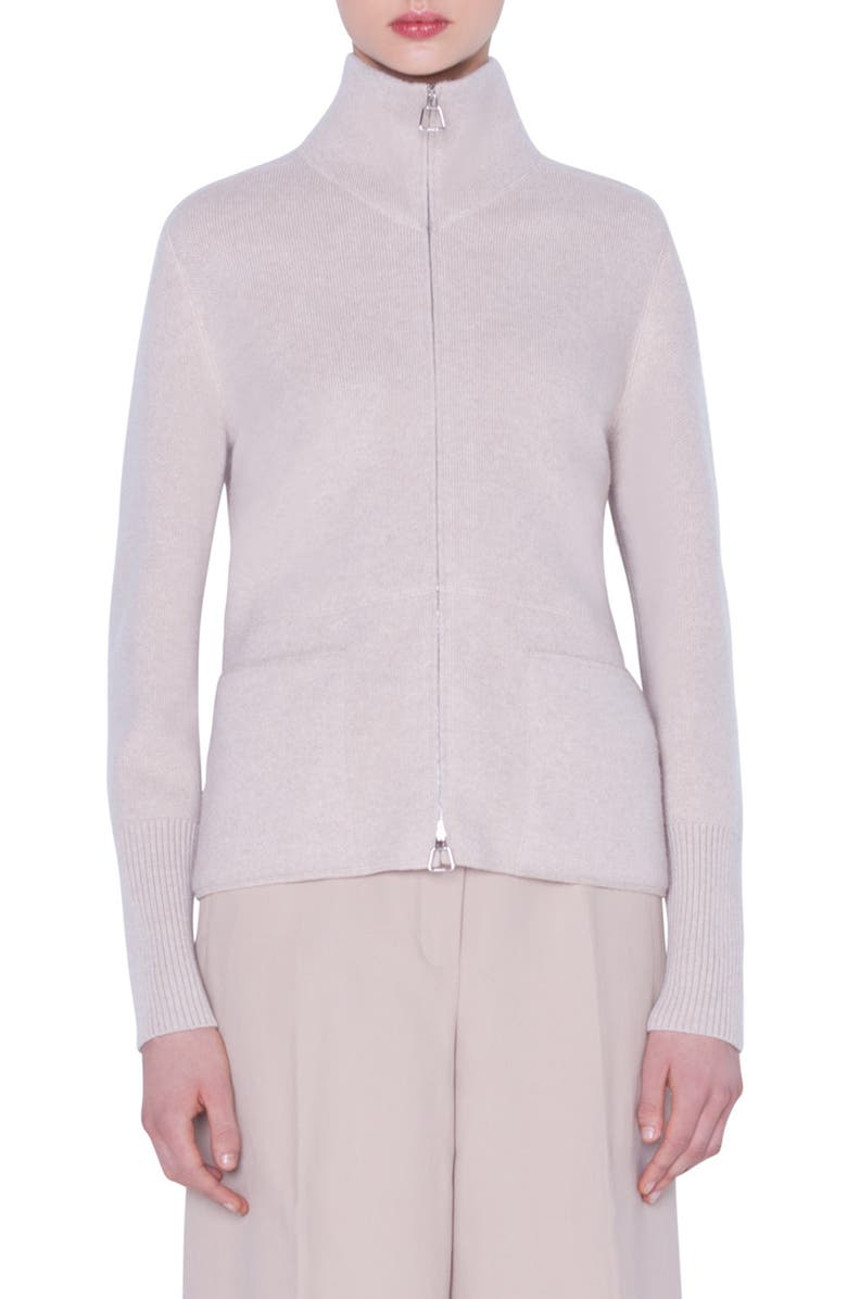 AKRIS Cashmere Zip Cardigan, Main, color, BIRCH