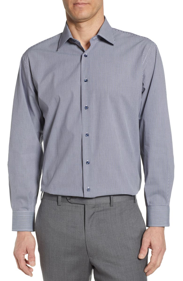 NORDSTROM MEN'S SHOP Tech-Smart Classic Fit Stretch Check Dress Shirt, Main, color, NAVY PEACOAT