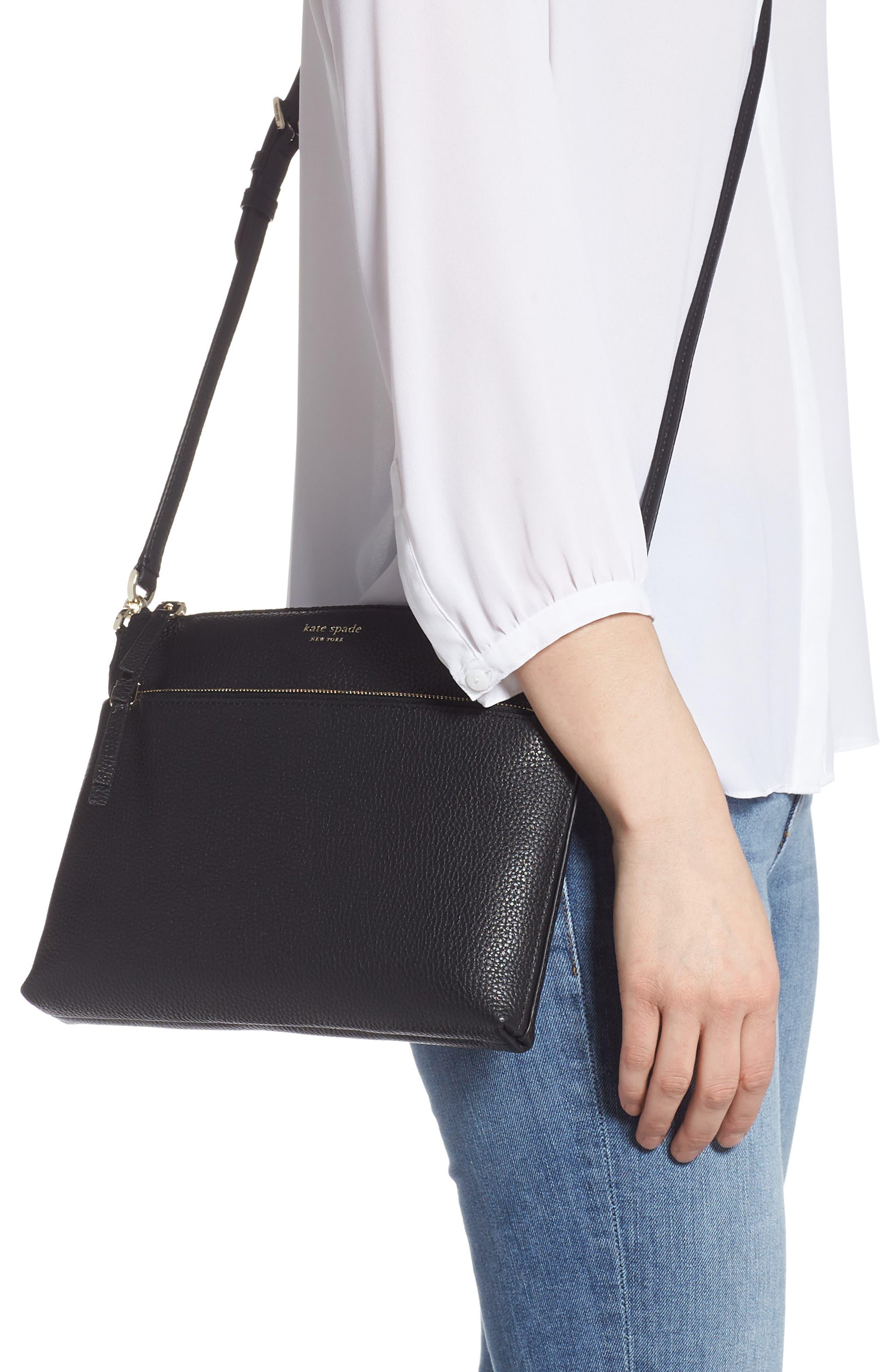 ,                             medium polly leather crossbody bag,                             Alternate thumbnail 2, color,                             BLACK