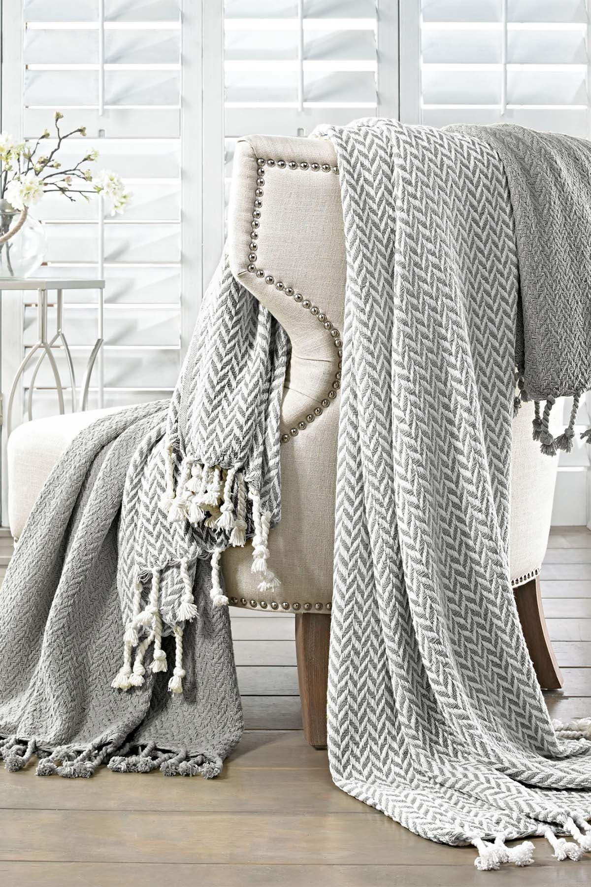Image of Modern Threads Monacco Throw - Set of 2 - Grey