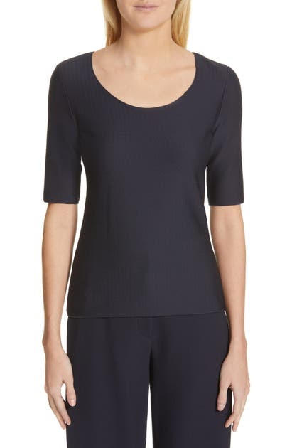 Armani Collezioni Emporio Armani Short Sleeve Textured-jersey Top In Blu Zen