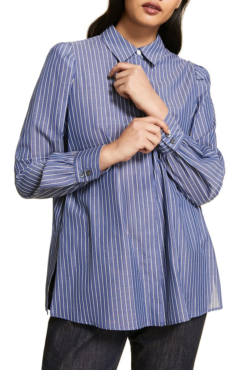 MARINA RINALDI Baltico Stripe Button-Up Shirt, Main, color, NAVY