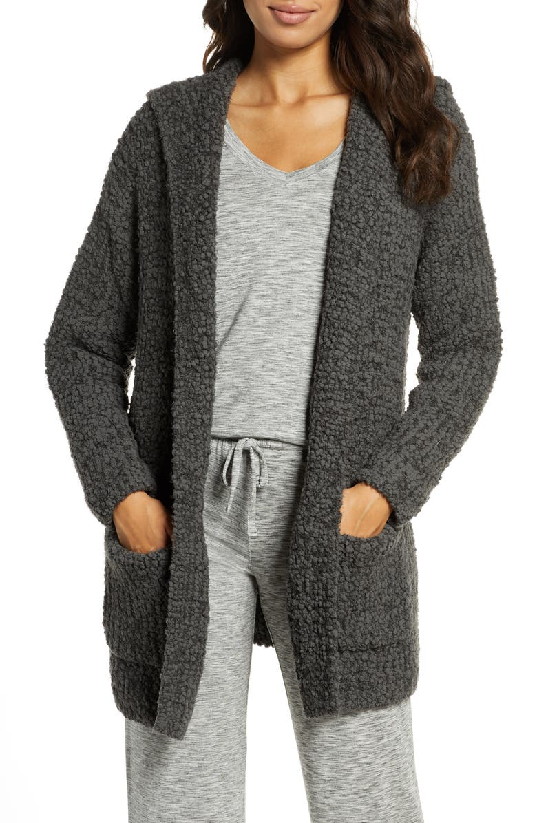 BAREFOOT DREAMS<SUP>®</SUP> Bouclé Knit Hooded Cardigan, Main, color, CARBON
