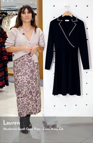 Suity Bead Trim Long Sleeve Sweater Dress, sales video thumbnail
