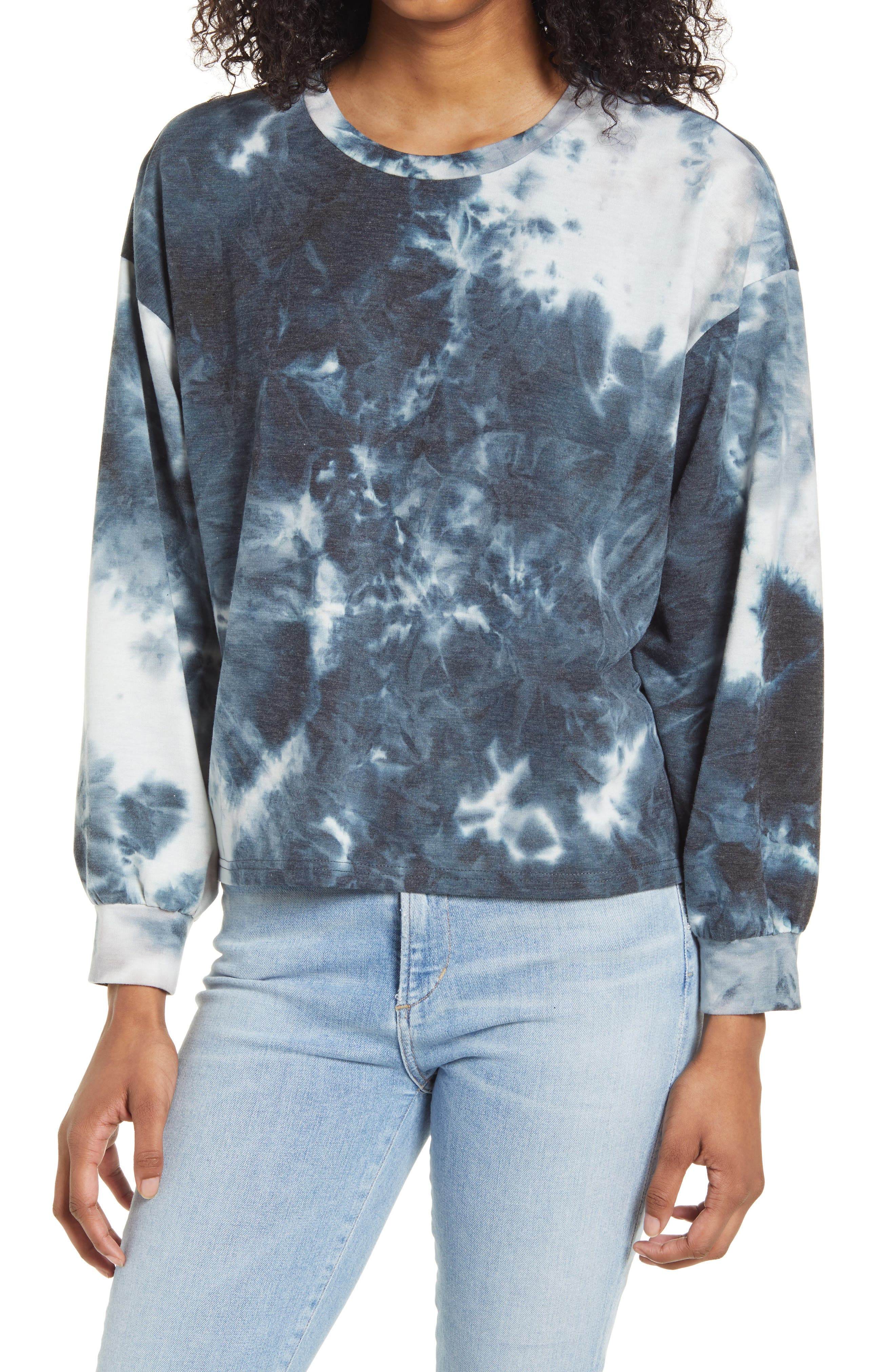 Get in on the tie-dye trend in the most comfortable way with this relaxed sweatshirt cut from a touchably soft fleece fabric. Style Name: All In Favor Tie Dye Sweatshirt. Style Number: 6133199. Available in stores.