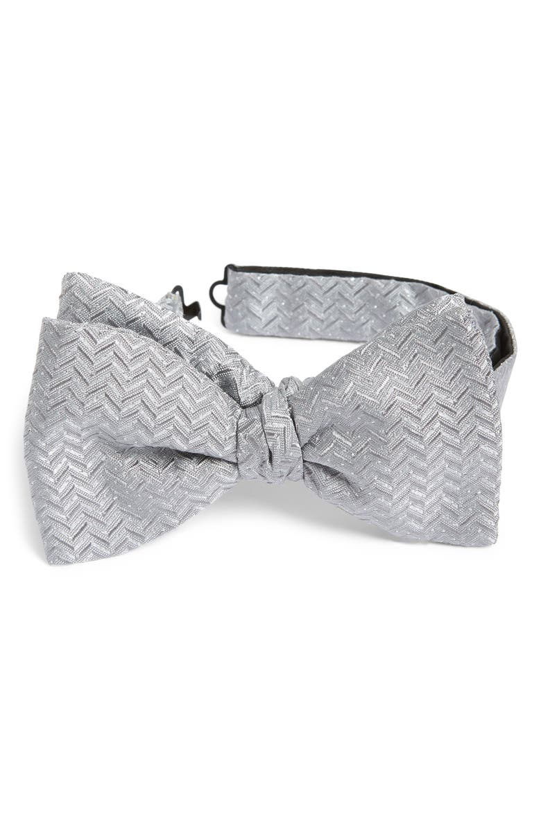 ETON Textured Silk Blend Bow Tie, Main, color, GREY