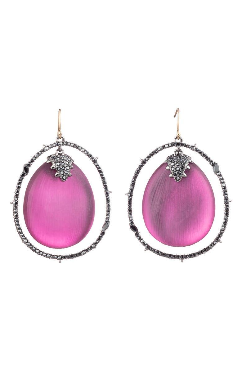 ALEXIS BITTAR Floral Noir Pavé Lucite<sup>®</sup> Orbital Earrings, Main, color, 600