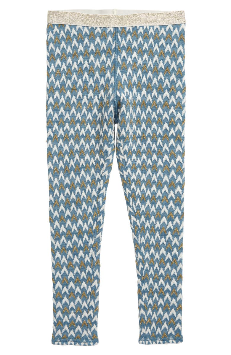 TUCKER + TATE Geometric Leggings, Main, color, BLUE STONE- GOLD CHEVRON