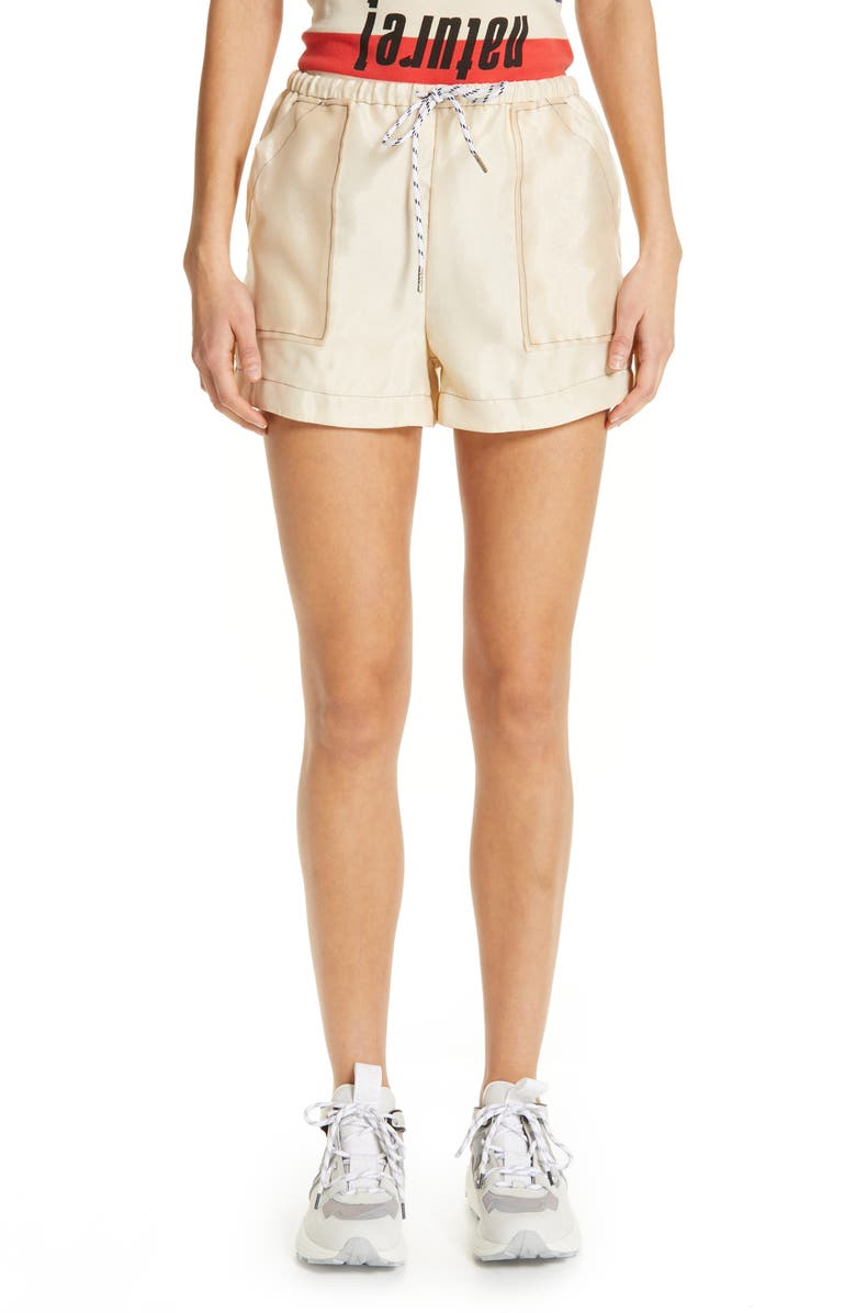 GANNI Solid Organza Shorts, Main, color, 900