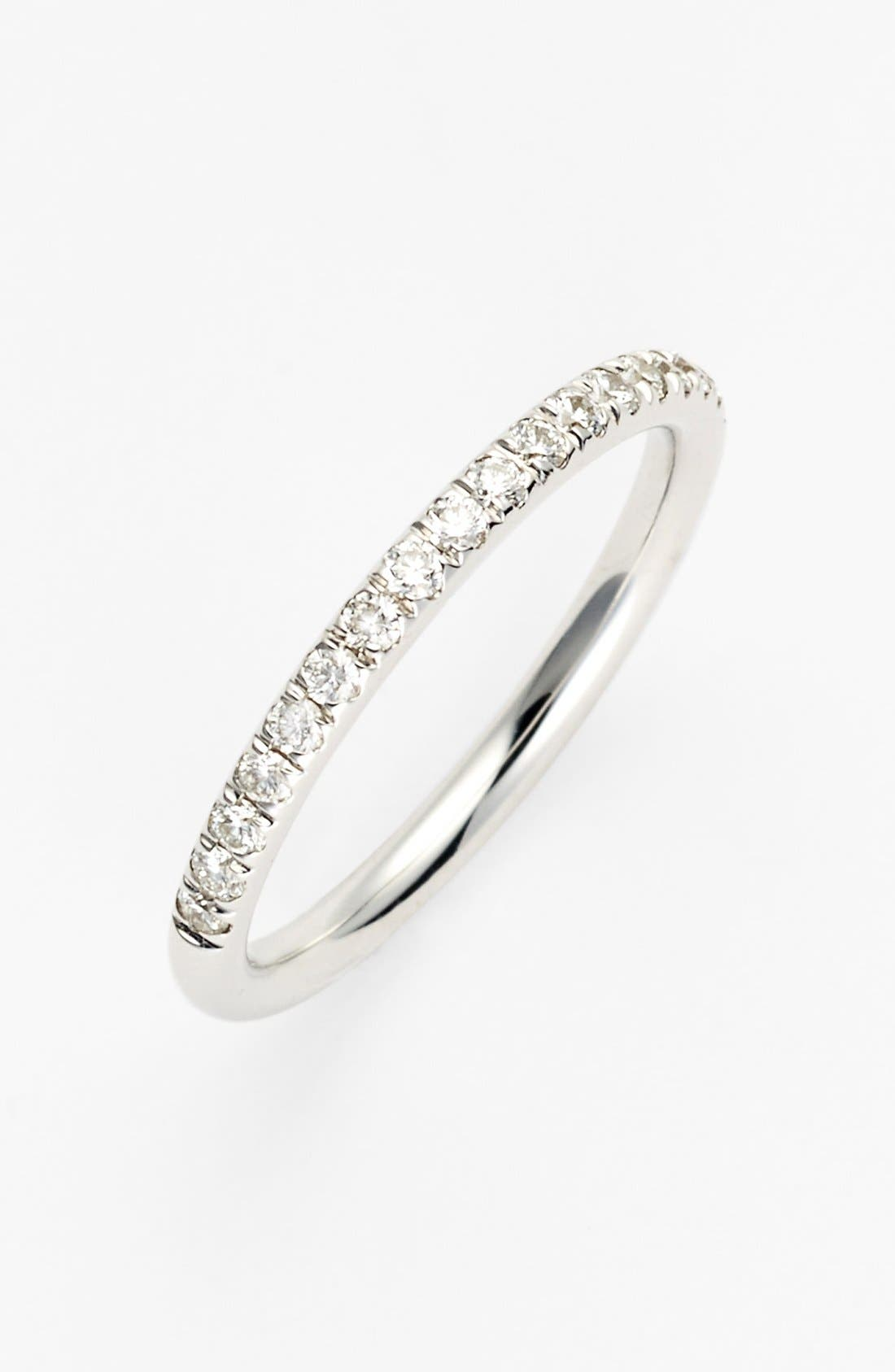 Round-cut and pave-set diamonds glitter on the top half of a gleaming keepsake-worthy ring band rendered in solid gold. Style Name: Bony Levy Stackable Large Straight Diamond Band Ring (Nordstrom Exclusive). Style Number: 945008. Available in stores.