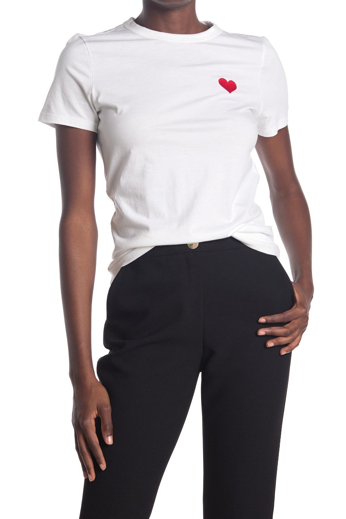 Image of Catherine Catherine Malandrino Embroidered Heart Crew Neck T-Shirt
