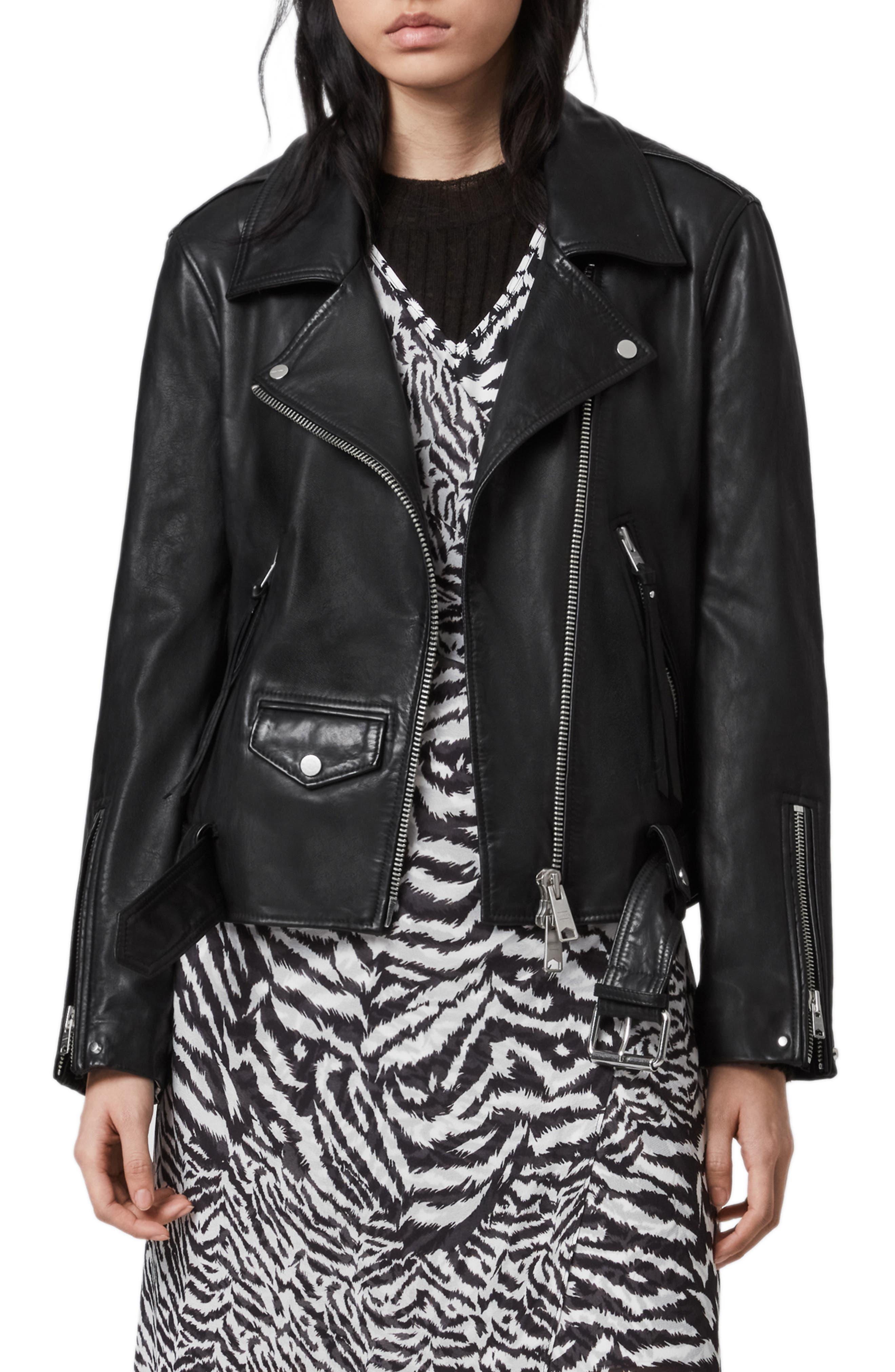 ALLSAINTS Luna Lambskin Leather Biker Jacket | Nordstrom
