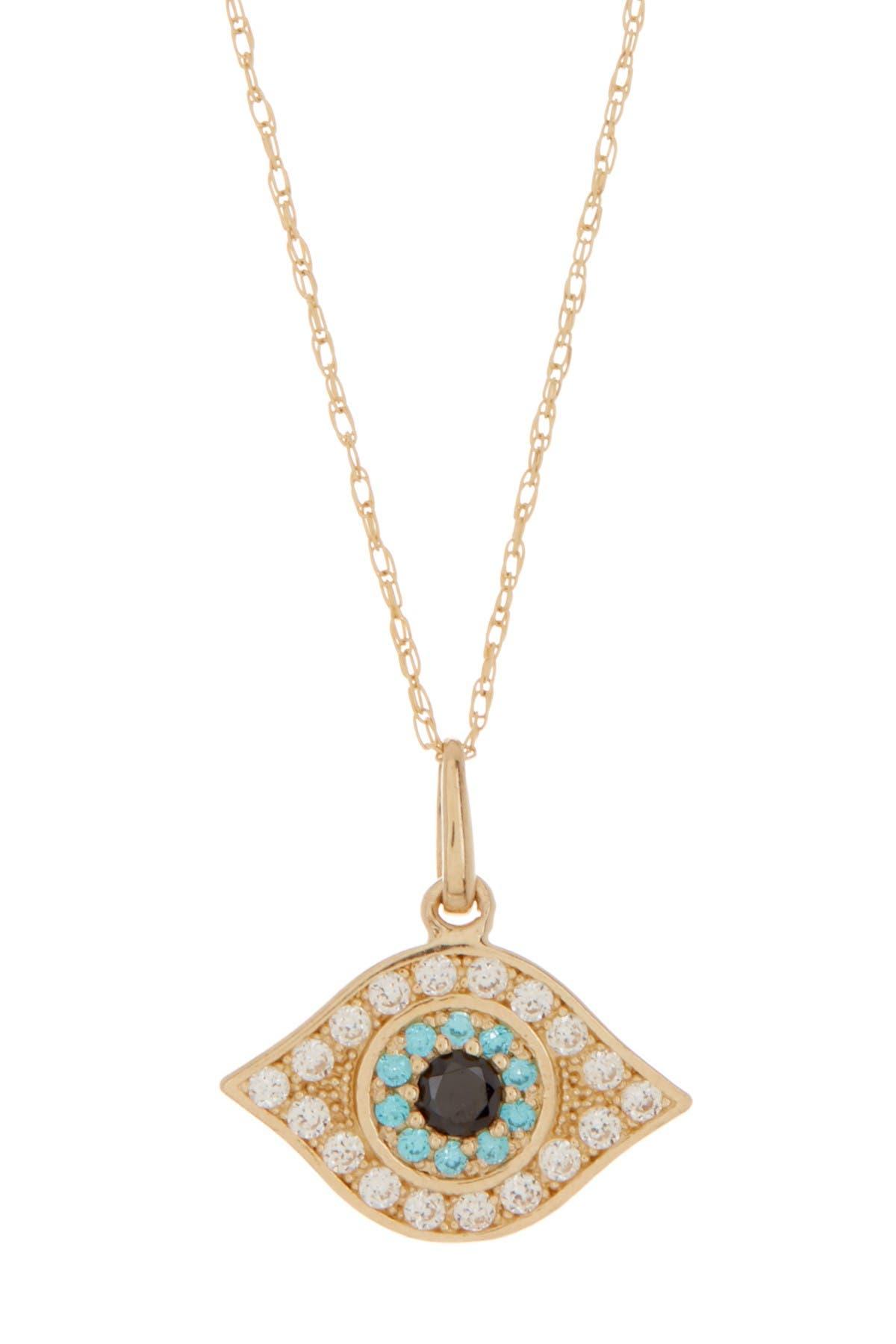 Image of Candela 10K Yellow Gold CZ Evil Eye Pendant Necklace