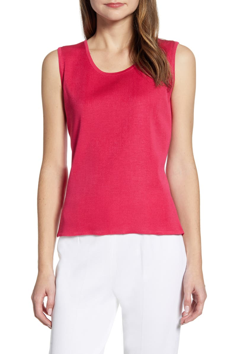 MING WANG Scoop Neck Knit Tank, Main, color, BRIGHT ROSE
