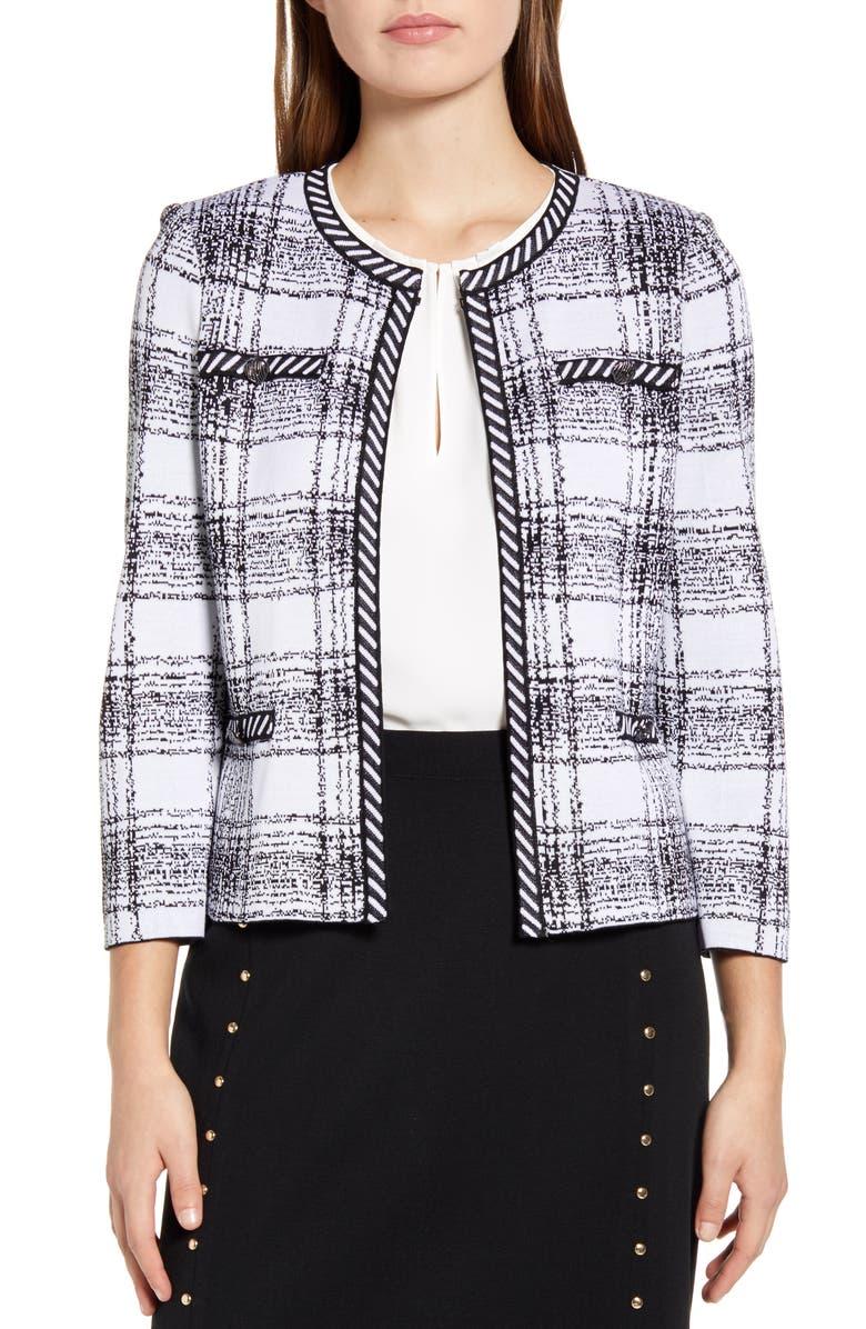 MING WANG Plaid Knit Jacket, Main, color, WHITE/ BLACK