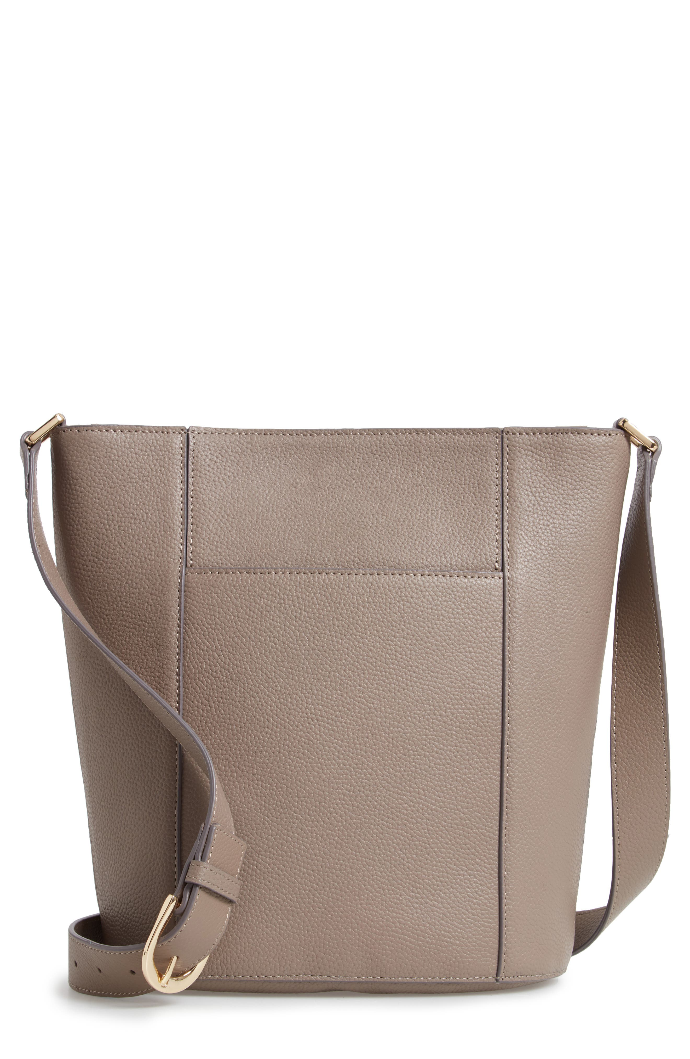 Loraine Leather Bucket Bag, Main, color, GREY TAUPE