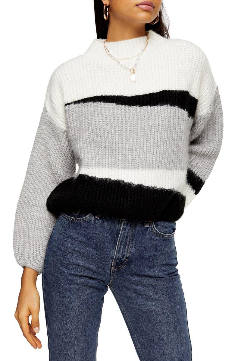 TOPSHOP Colorblock Crop Sweater, Main, color, BLACK MULTI