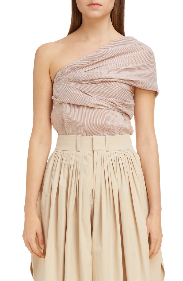CHLOÉ Twisted Metallic Stripe One-Shoulder Top, Main, color, WHITE - BEIGE 1