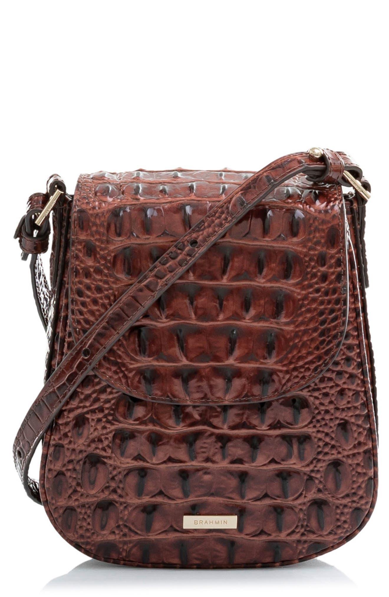 Everlee Croc Embossed Leather Crossbody Bag